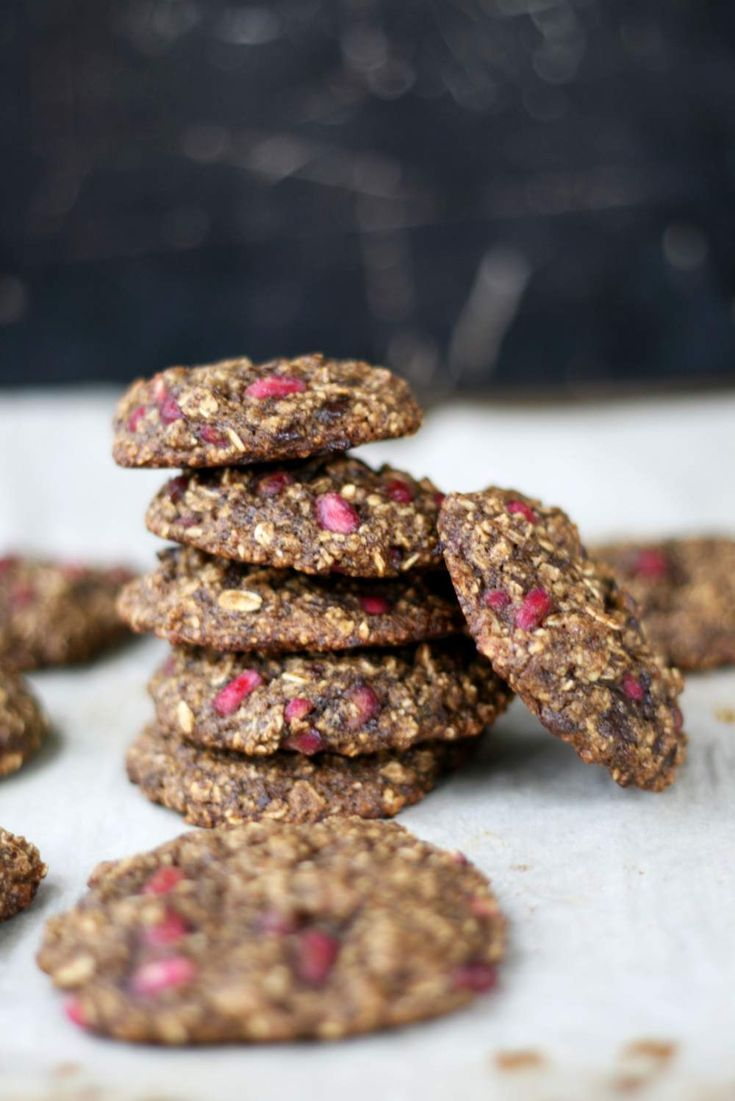 These pomegranate chocolate chip cookies bring a festive touch to your holiday table! Vegan & gluten free too.