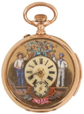 E. Mathey 14K Animated Repeater Pocket Watch