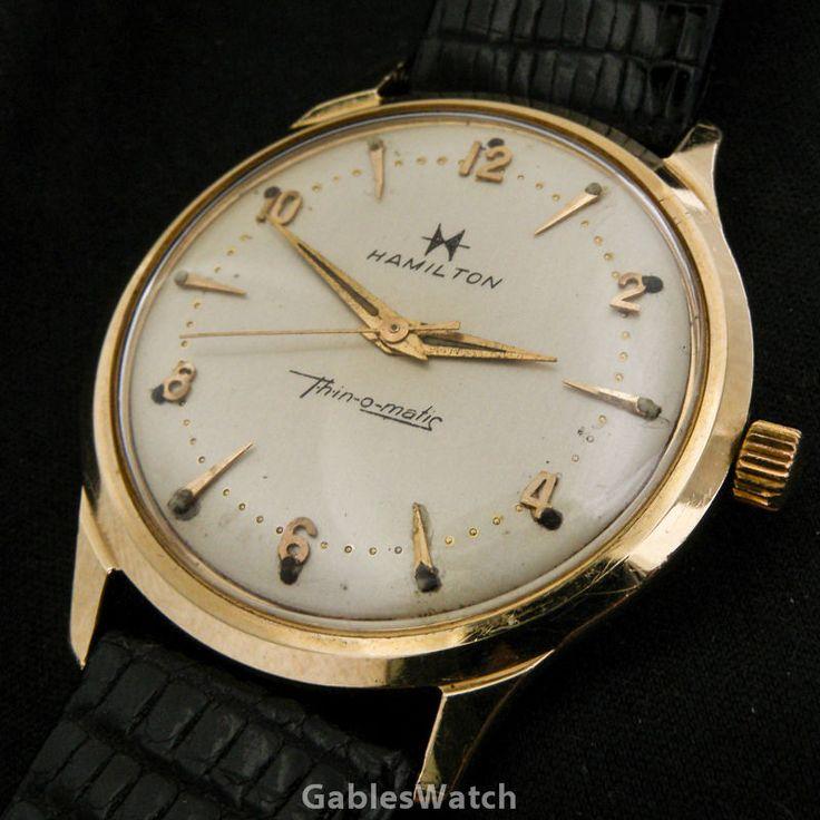 Hamilton Thin O Matic Vintage 14k Solid Gold Mens Watch