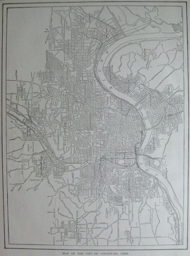 1918 Antique CINCINNATI Map of Cincinnati Ohio