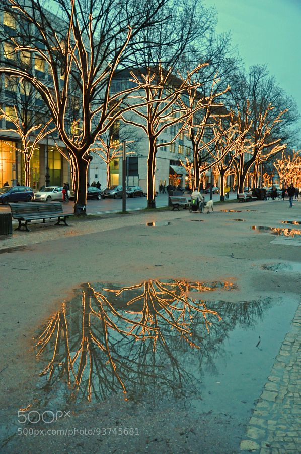 FESTIVE PUDDLE. (Unter den Linden Berlin) by iDJPhotography