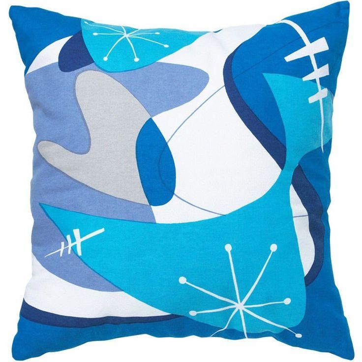 Retro Atomic Print Blue Throw Pillow Cover