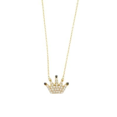 Princess crown gold necklace