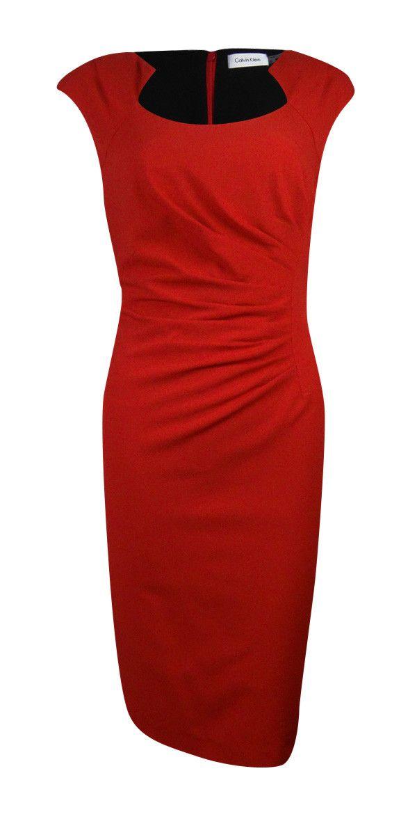 Calvin Klein Women's Modified Scoop Neck Pleated Sheath Dress