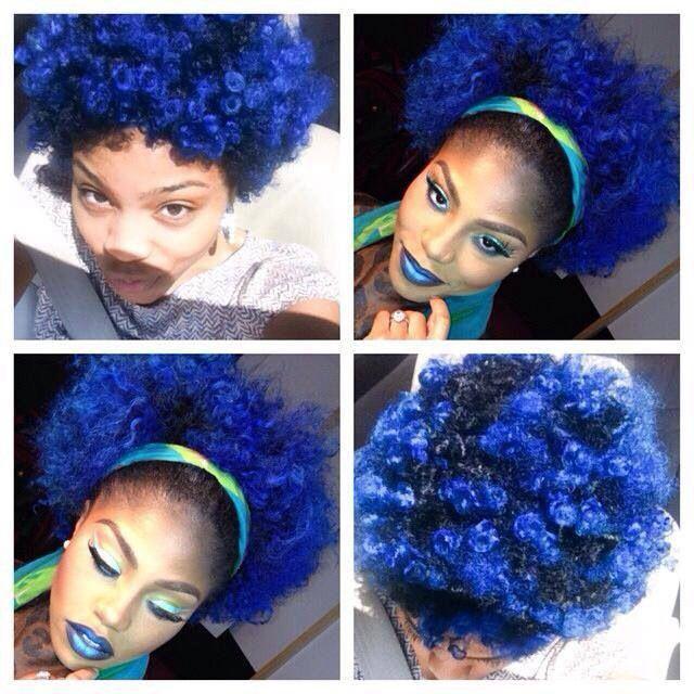 natural blue hair and makeup