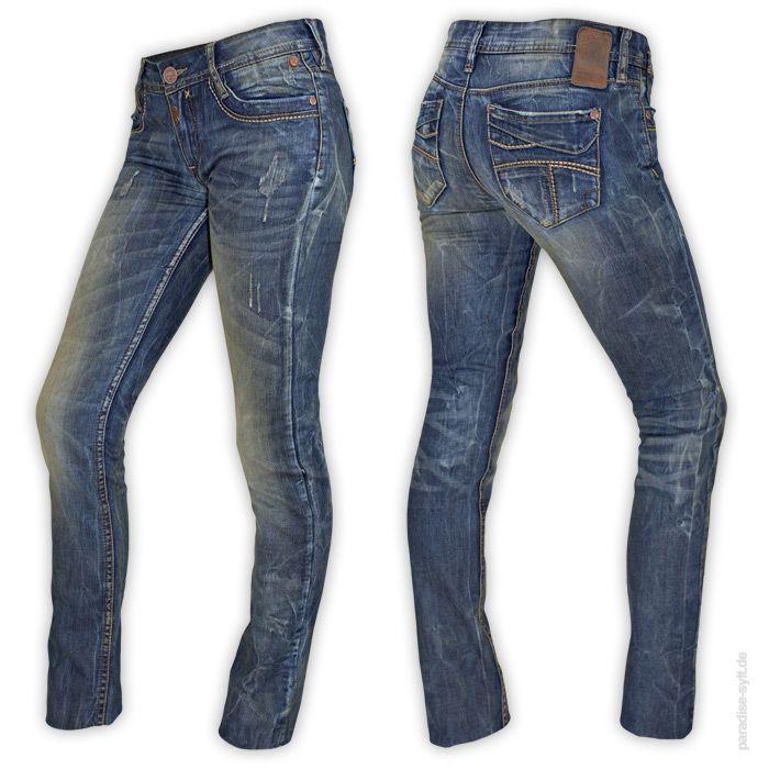 Timezone  Jeans TAMIKA  Jeanshose für Damen im Vintage Look mit starken Abnutzungen.      5-Pocket Design     Zip-Fly     Kontrastnähte     breite Gürtelschlaufen     gelbliche Verfärbungen     aufgescheuerte Stellen     gerade Hosenbeine     hoher Leib     Farbe: jeans