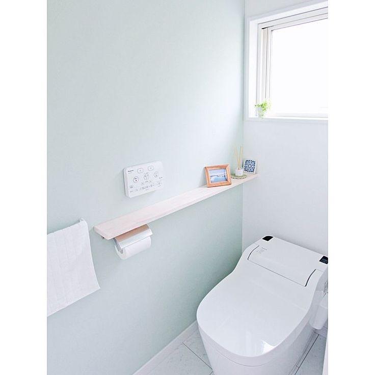 アクセントクロス/IKEA/水色/ミントグリーン/トイレ/DIY…などのインテリア実例 - 2016-03-01 20:31:23 | RoomClip(ルームクリップ)