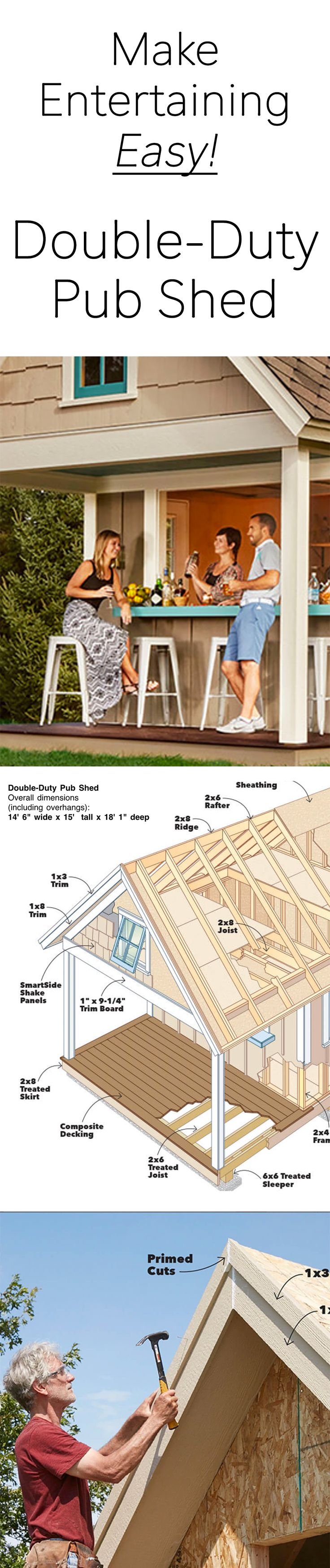 The perfect party spot, plus tons of storage. This year's shed is one of the most versatile we've ever built.  The bar and covered patio area make it a perfect place to entertain or just hang out. The steep roof and sturdy lofts provide tons of extra storage space. And the high-tech materials, including reflective roof sheathing and prefinished floor panels, add to the shed's comfort and convenience. Of course, if you don't want a bar, you can install a bank of windows in its place.