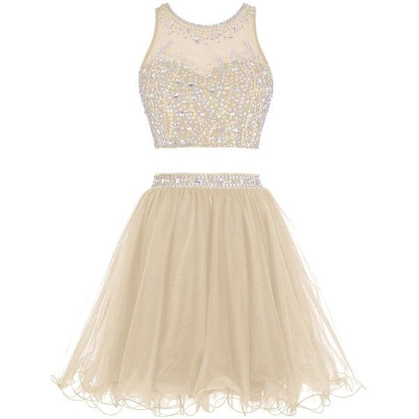 Tideclothes Short Beading Prom Dress Two Pieces Tulle Homecoming Dress ($75) ❤ liked on Polyvore featuring dresses