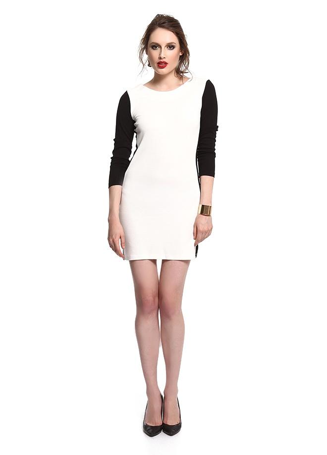 SATEEN Iki renk arka fermuarlı elbise Markafoni'de 59,90 TL yerine 29,99 TL! Satın almak için: http://www.markafoni.com/product/3411131/
