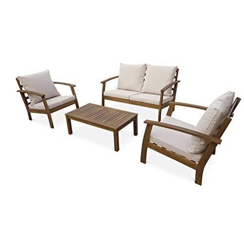 Salon De Jardin En Bois 4 Places Ushuaia Coussins Ecrus Canape Fauteuils Et Table Basse En Acacia Design Salon De Jardin