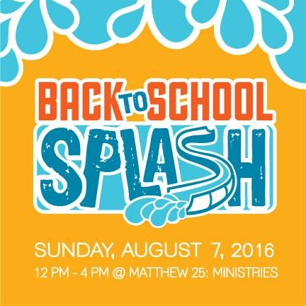 Register today for the ride of your life on a giant slip and slide in the Matthew 25: Ministries parking lot! Join us on Sunday, August 7 for The Back to School Splash—a great way to cool off from the summer heat, warm up for the Hunger 5K, and have fun while helping those in need!  Visit WWW.M25M.ORG/EVENT/BACKTOSCHOOLSPLASH to register today!