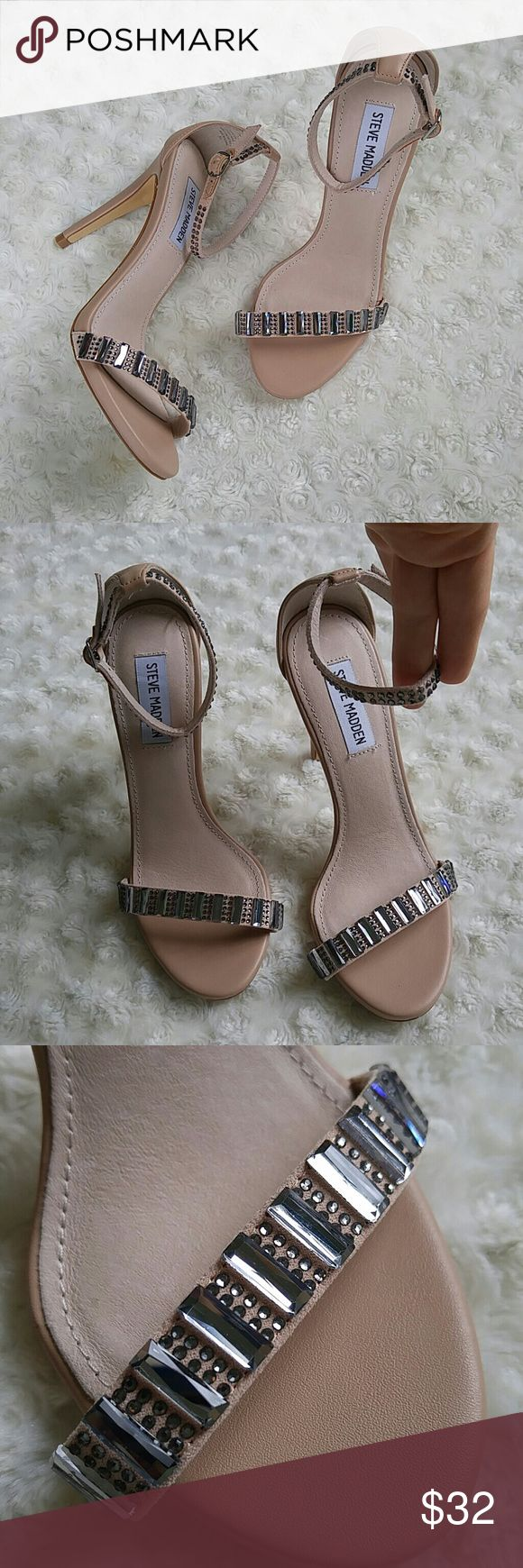 """Stunning Steve Madden Suzzana nude heels I bought these from another posher to wear at Poshfest to the Rebecca Minkoff party and I arrived to late to LA to make it.   These are gorgeous!!!! So sexy and sparkly. 4"""" heel. Steve Madden Shoes Heels"""