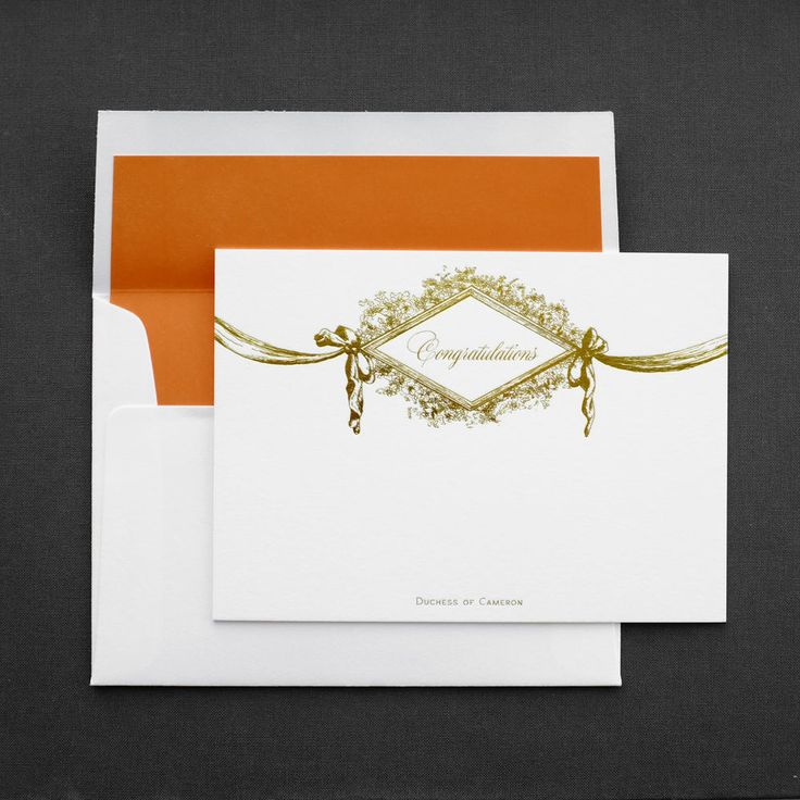 Duchess of Cameron: Letterpress Gold Foil Congratulations Note Card, Blank, on 220lb Crane's Lettra 100% Cotton Paper