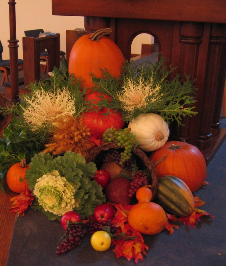 Fall decoration in front of Ambo