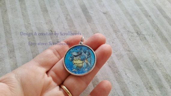Pokémon Blastoise Wartortle Squirtle lenticular pendant! Handmade by Scrollbeads (found on Etsy!)
