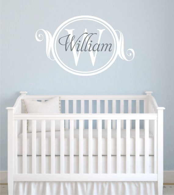 Name and Initial Vinyl Wall Decal Elegant Border Personalized Monogram Wall Decal Girl Boy Baby Nursery Room Bedroom Wall Art 22Hx36W FS319