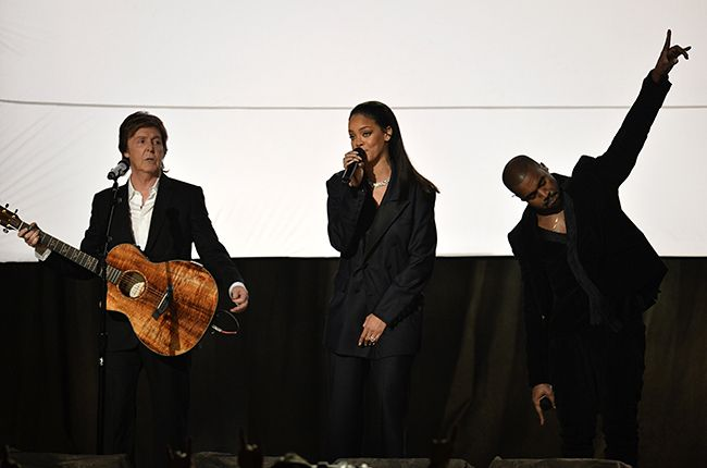 Rihanna and Kayne West perform with Paul McCartney on stage at the 57th Annual Grammy Awards in Los Angeles February 8, 2015