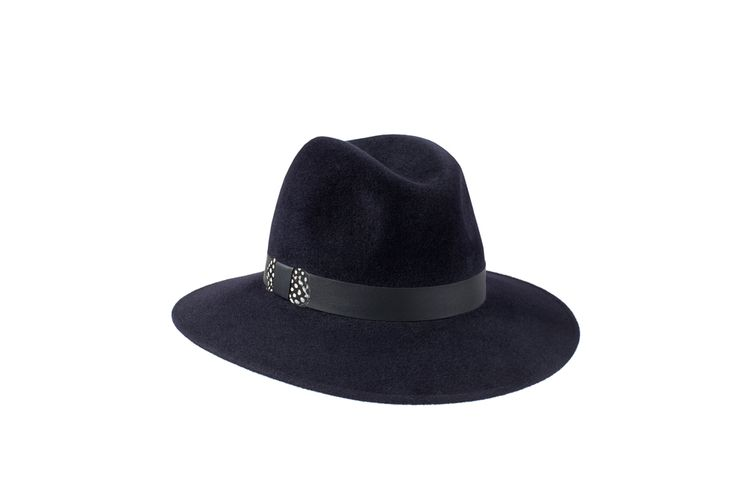 The Willow Fedora Collection   Midnight Blue   Leather & Guinea Fowl Feather Band www.penmayne.com #fedora #hats #accessories