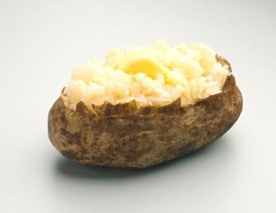 Cara's new baked potato regime. 5-7 min in microwave. Brush with olive oil and sea salt, oven for 25-30 at 425.