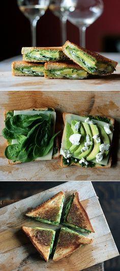 Pesto, mozzarella, baby spinach, avocado grilled cheese // um, yum.