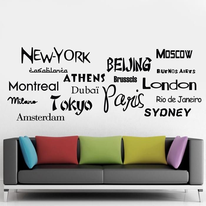 Multi city Wall Sticker set