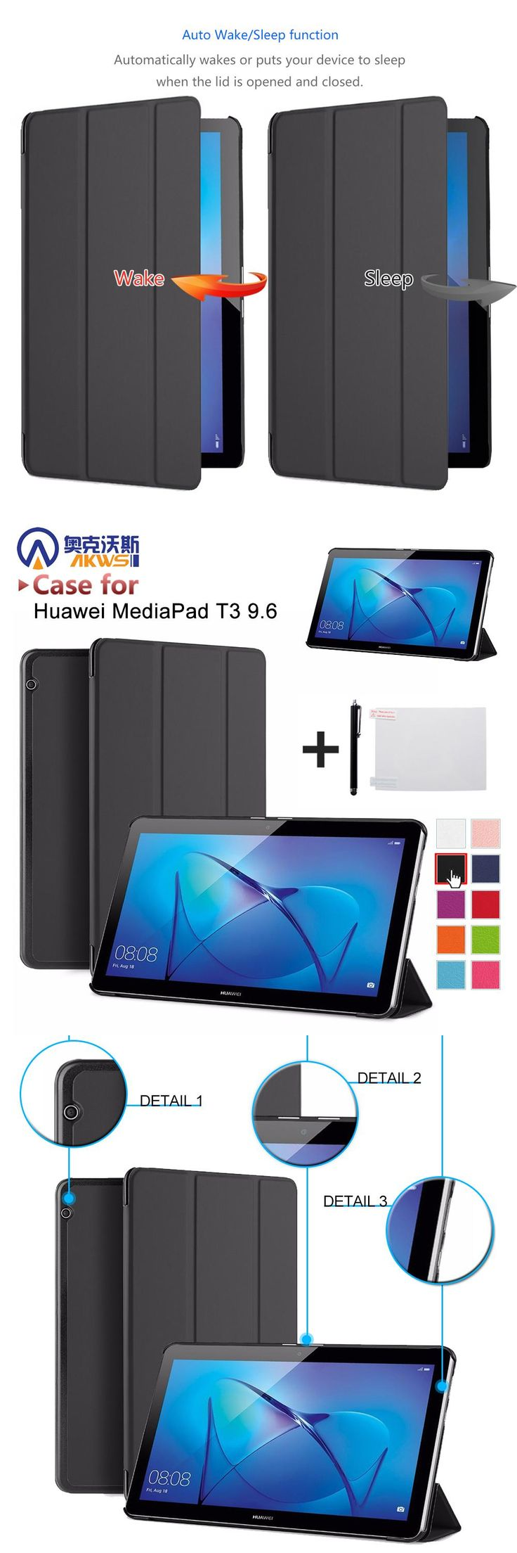 [Visit to Buy] Protective cover skin for Huawei MediaPad T3 9.6 AGS-W09/AGS-L09  for 9.6'' Tablet PC for Honor Play Pad 2 9.6+free gift #Advertisement