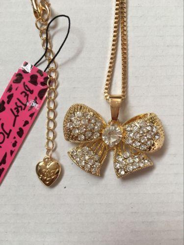 Beautiful~  Betsey Johnson Rhinestone Bow Necklace & Free Gift $5.99 #BetseyJohnson #Chain