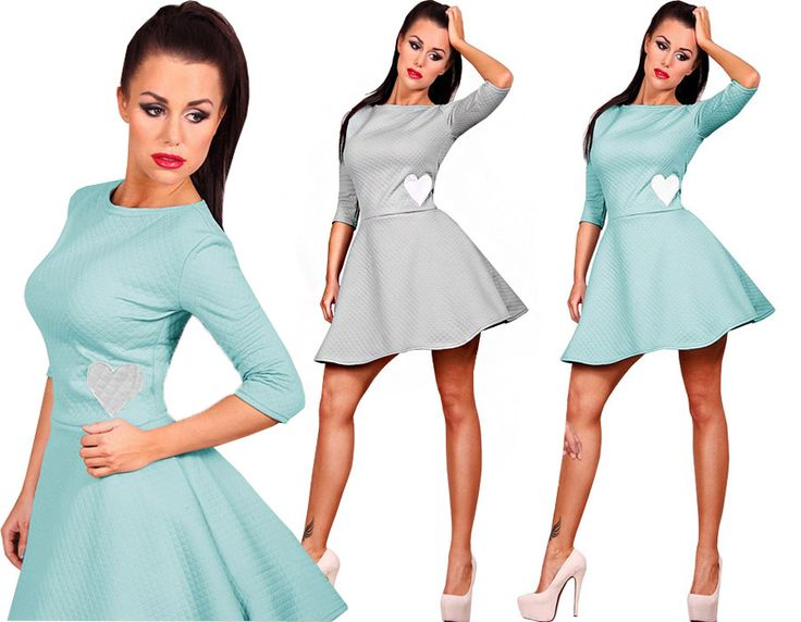 Szalowa Pikowana Sukienka Rozkloszowana Serce P99 Fashion Dresses Mini Dress