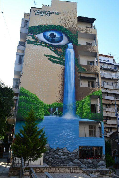 An interesting mural to brighten an apartment building,Thessaloniki, Macedonia, Greece.