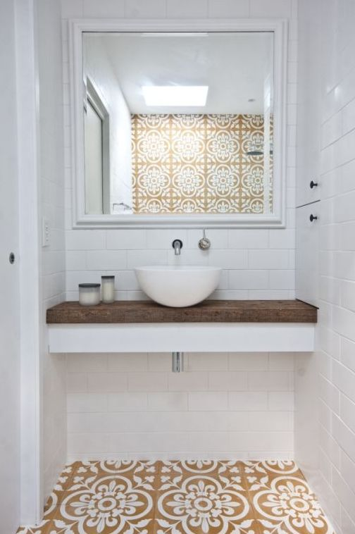 Timber top bathrooms power rooms pinterest small for Small yellow bathroom ideas