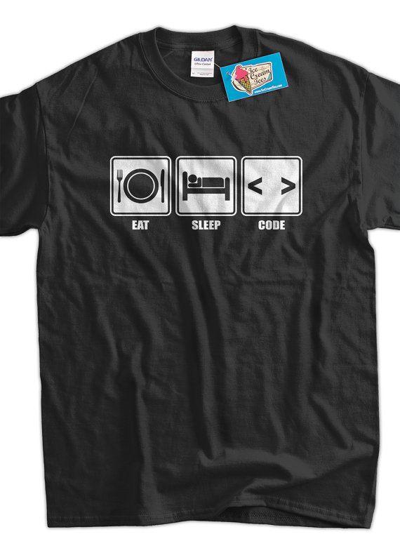 Funny Computer Geek T-Shirt Eat Sleep Code T-Shirt V1 Computer