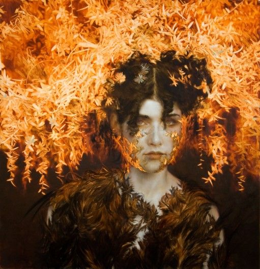 Brad Kunkle - Candela, 33 x 32 inches, Oil and silver leaf on wood.