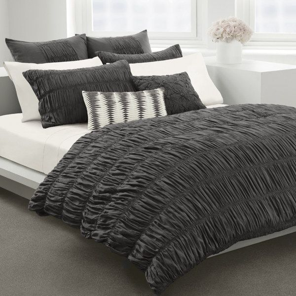 Gray Bedding At Bed Bath And Beyond : Willow grey duvet cover by dkny cotton bed bath