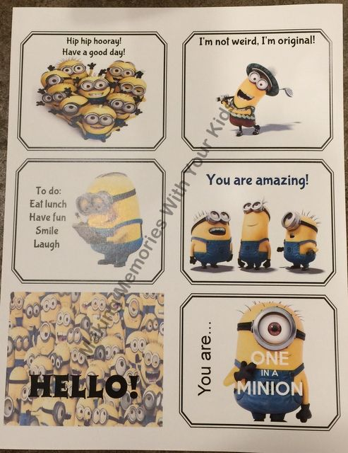 Minion Lunch Box Notes for Kids - Free Printable included