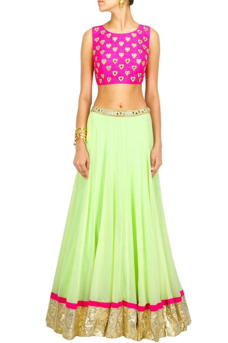Lehenga blouse design in golden color and mirror work - Love Mirror Work Outfits Arpita Mehta Mint Green Lehenga With Pink Heart Crop Choli Via