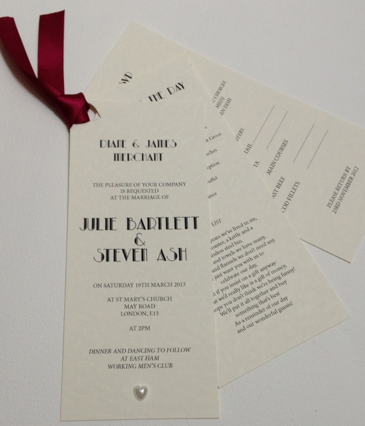 funny wedding invitation rsvp goes viral%0A Art deco style bookmark invitation