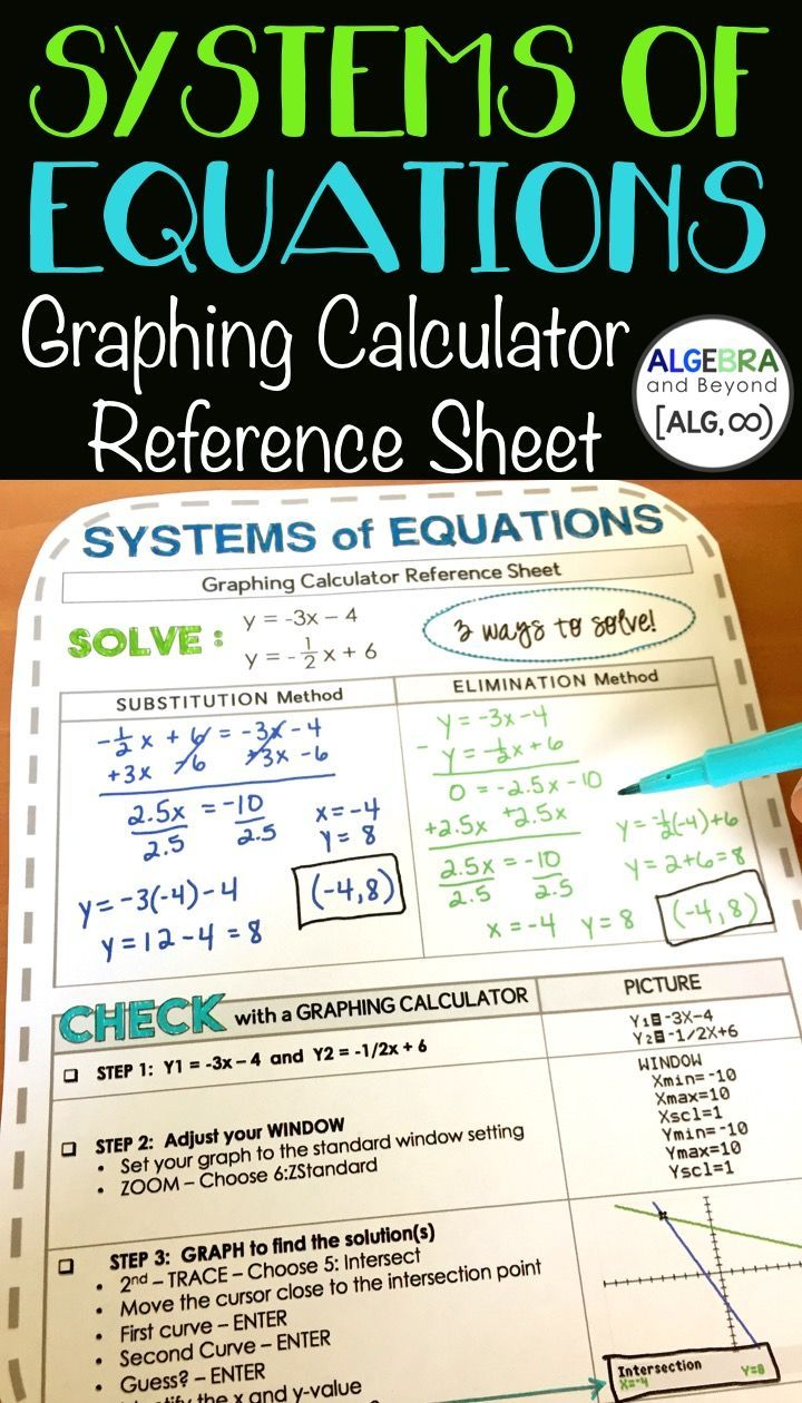 Systems Of Equations Graphing Calculator Reference Sheet Ti 84 Students Solve A System Using Substitution Systems Of Equations Algebra Graphing Calculator