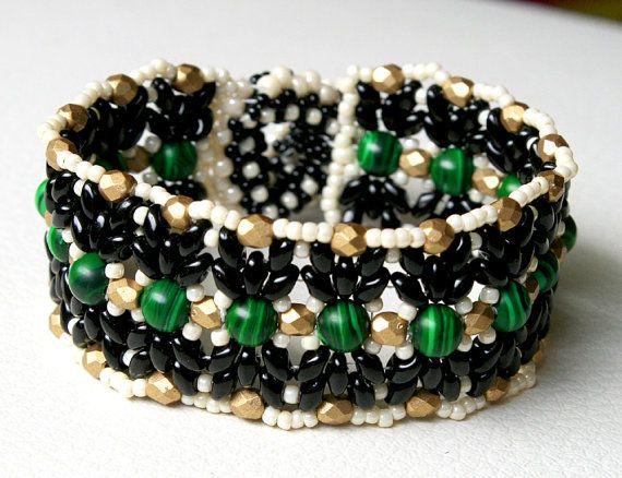 Bracelet with beads TOHO SuperDuo Fire Polish and von Mulinka