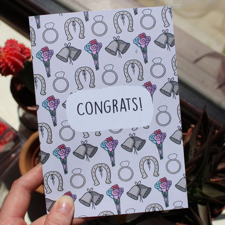 Congratulations Engagement/Wedding Greetings Card // Marriage Celebrations // A5 + Paper Envelope Included by TheArtCaveCreations on Etsy