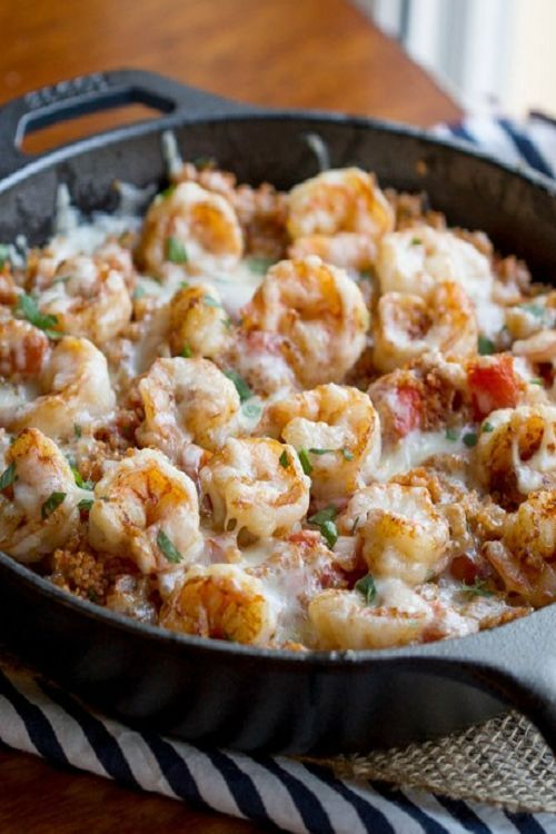 Cajun Shrimp and Quinoa Casserole. Emily note: Okay, so not exactly vegetarian with the shrimp... but this was AMAZING. I used regular old mild cheddar instead of Fontina because I didn't have any.