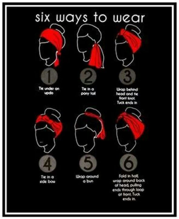 Six easy ways to wear a scarf, including some simple rockabilly hair styles.