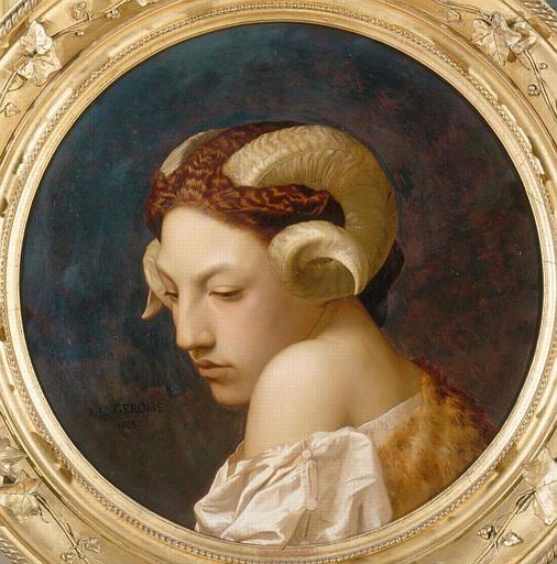 Jean -Leon Gérôme - Tête de femme coiffée des cornes d'un belier - 1853