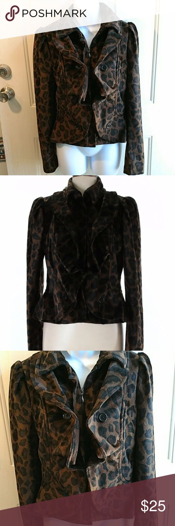 "INC brown black leopard print jacket ruffled INC animal print, zip up jacket, ruffles, faux button closer, size large. Gently used with no flaws.  Flat Lay Bust: 19"" Length: 23"" INC International Concepts Jackets & Coats"