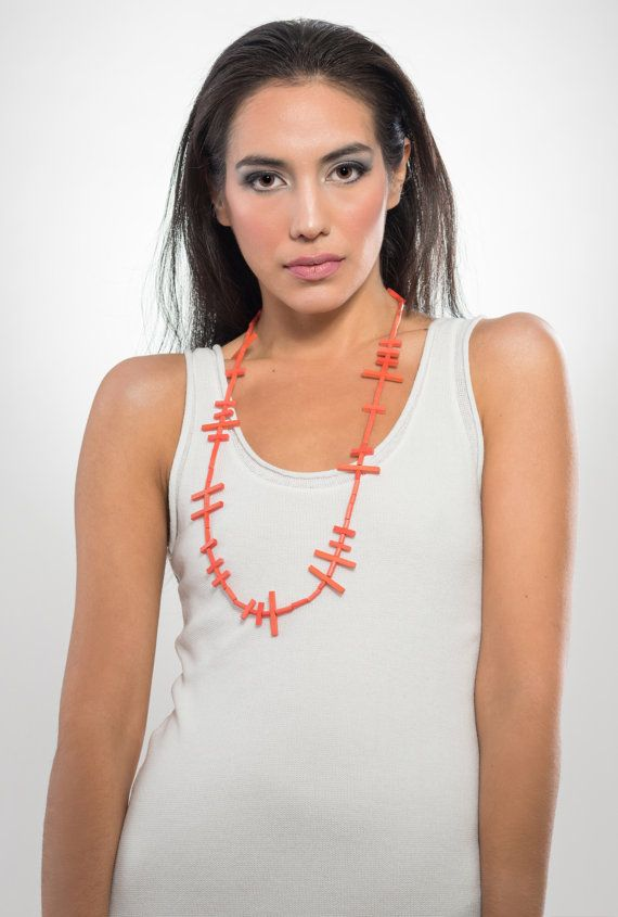 Long geometric sticks wooden necklace coral color by LauraRosa
