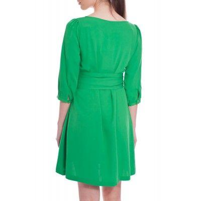 Greta - Hanna Silk Dress Emerald Green - Kotyr.com