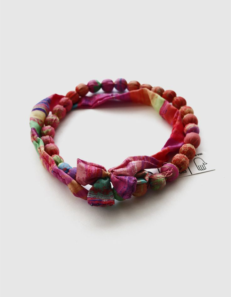 New to DesignedByImaPico on Etsy: Colorful Necklace Multicolor Beads Silk Jewelry Pink Summer Accessories Multicolored Silk Beaded Jewelry (16.00 GBP)