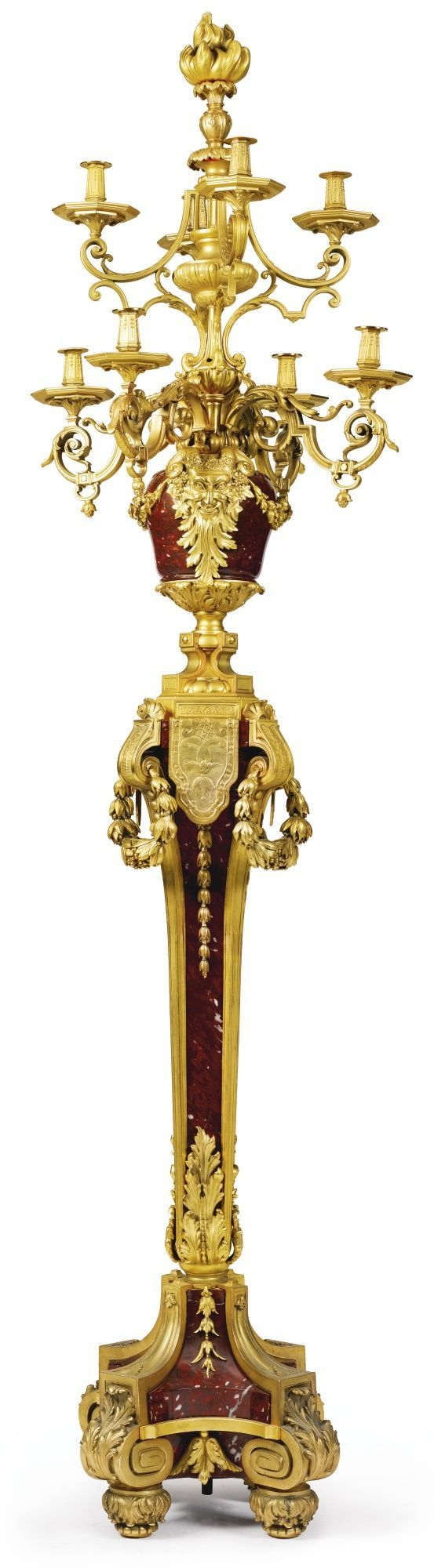 A large Louis XVI style gilt-bronze and rouge griotte marble eight light floor lampFrance, 20th century | Lot | Sotheby's