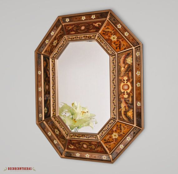 Handmade Reverse Painted Glass Octogonal Wood by DECORCONTRERAS