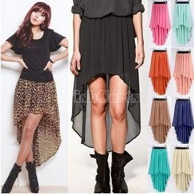 Women's Chiffon Pleated Retro Asymmetrical Swallow Tail Short Elastic Waist Skirt